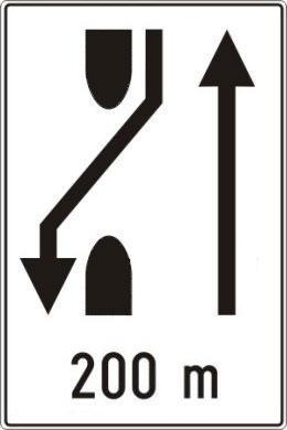 C118 PREDZNAK ZA PREUSMJERAVANJE PROMETA NA CESTI S ODVOJENIM KOLNIČKIM TRAKAMA