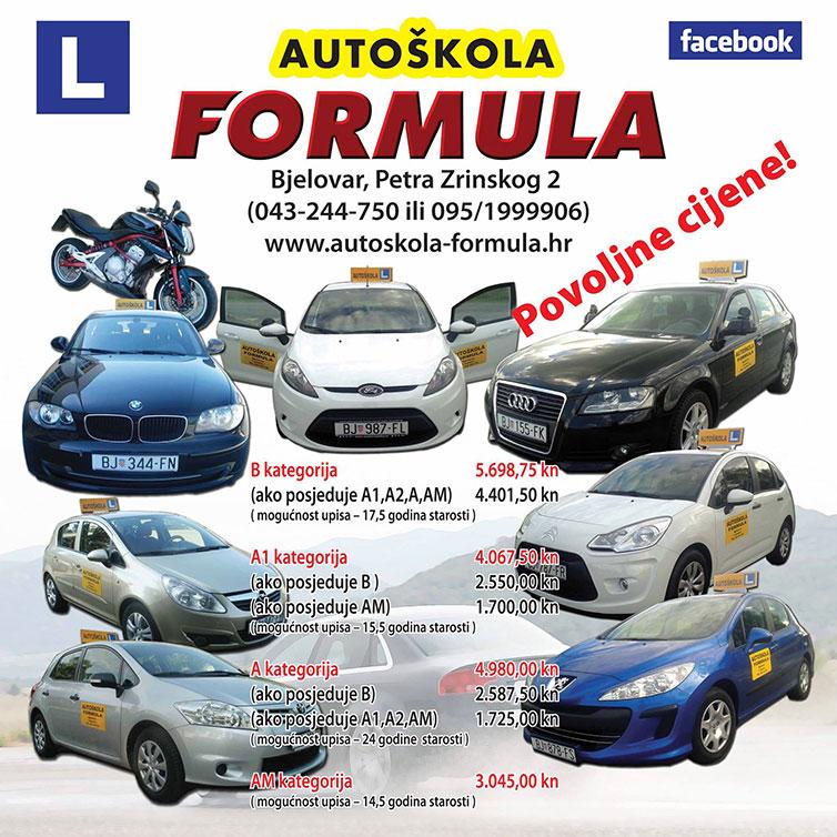 Povoljne cijene Autoškola Formula Bjelovar